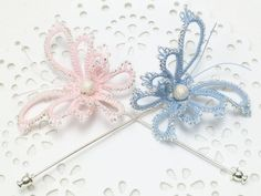 Tatted Butterfly Stickpin Custom Order -Diana in your color with silver lined beads MTO