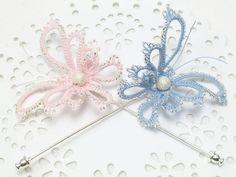 Chose papillon épingle Custom Order - Diana dans votre couleur argent doublé perles MTO