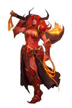 Female Efreeti - Pathfinder PFRPG DND D&D d20 fantasy
