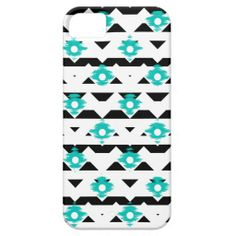 Teal and Black Ikat Tribal iPhone 5 Covers #tribal #aztec #ikat #iphonecase #iphonecover #iphone5