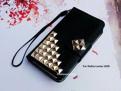 Nokia Lumia 1020 case - Nokia 1020 case - Studded phone case - Leather wallet - Strap Wallet - Nokia Lumia case - Stud - Handmade