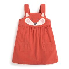Bring a big pop of colour to your little one's wardrobe with the Girls' Fox Cord Pinafore Dress - the vibrant orange tone is guaranteed to brighten up everyone's day. Try layering it over neutral cream tights and a cotton top to complete the outfit. Toddler Girl Style, Toddler Dress, Toddler Girls, Baby Girl Dresses, Baby Dress, Chloe And Paige, Cord Pinafore Dress, Jumper Outfit, Girls Jumpers