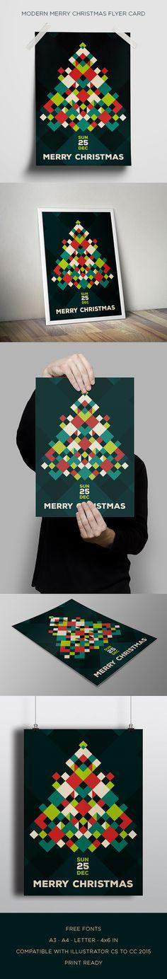 Modern Merry Christmas Flyer Card. Download here: https://goo.gl/61qomZ