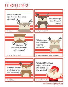 Printable Reindeer Jokes | Rock Paper Sprinkles