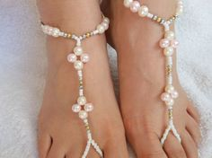 Barefoot Sandals Beach Wedding Yoga Shoes Foot Jewelry Beads White Pink Cream Silver Gold