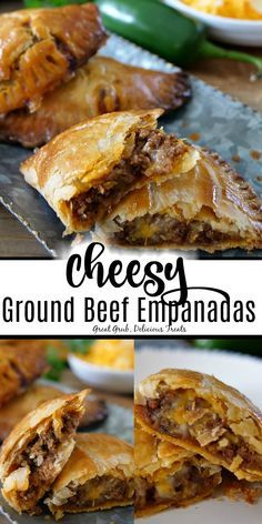 Cheesy Ground Beef Empanadas have a flaky crust and are full of deliciously seasoned ground beef, loaded with two types of cheese and then baked to perfection. with ground beef Cheesy Ground Beef Empanadas Meat Recipes, Mexican Food Recipes, Cooking Recipes, Types Of Mexican Food, Meatloaf Recipes, Shrimp Recipes, Salmon Recipes, Recipes Dinner, Cooking Time