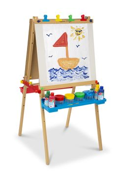 Melissa & Doug Deluxe Standing Art Easel - Dry-Erase Board, Chalkboard, Paper R Display Easel, Bag Display, Sketch Box, Chalkboard Paper, Art Stand, Art Easel, Painted Boards, Melissa & Doug, Dry Erase Board