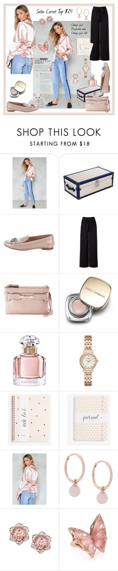 """""""Pink Satin Corset Top"""" by styledirectory ❤ liked on Polyvore featuring Nasty Gal, Chanel, Jennifer Lopez, Dolce&Gabbana, Guerlain, Kate Spade, Astley Clarke, Stephen Webster and Peermont"""