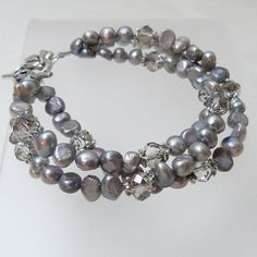 8 1/2 Silver Freshwater Pearl and Crystal Triple by tbyrddesigns, $24.00