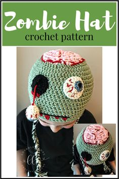 Free Zombie hat crochet pattern. I was really excited when my kindergartner, Mark, asked me to make a zombie hat for him. I asked him to draw a picture of how he wanted it to look. We agreed that it needed to have a hanging eyeball and an exposed brain. I hope you like it as much as he does!