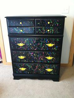 Repainted white dresser to black, splatter paint for my teen daughters room.