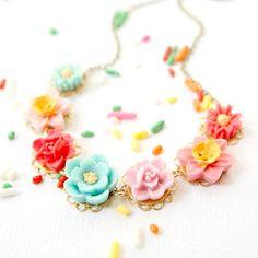Children Colorful Necklace Flower Necklace by NestPrettyThingsKids, $32.00