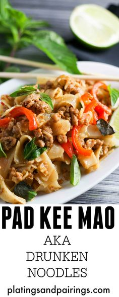 I was SO excited when I learned to make my favorite Thai dish at home! Pad Kee Mao | platingsandpairings.com