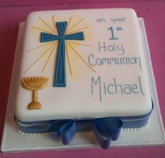I like the chalice and cross on this, I would stick to Buttercream rather than fondant, tastes better, but won't look exactly like this:)
