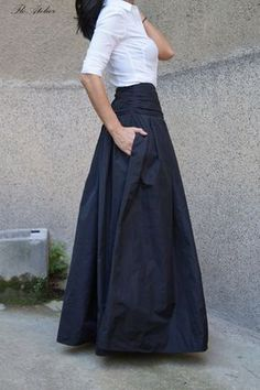 Lovely Black Long Maxi Skirt/High or Low Waist Skirt/Long Waistband Skirt/Handmade Skirt/Low . : Lovely Black Long Maxi Skirt/High or Low Waist Skirt/Long Waistband Skirt/Handmade Skirt/Low Waisted Black Skirt/Formal Mode Outfits, Skirt Outfits, Girly Outfits, Stylish Outfits, Summer Outfits, Waist Skirt, Dress Skirt, Taffeta Skirt, Mode Simple