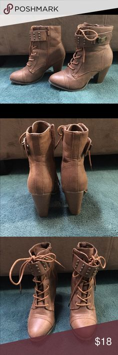 Brown high heel booties Forever brand faux leather booties great condition worn less than 5 times forever Shoes Ankle Boots & Booties