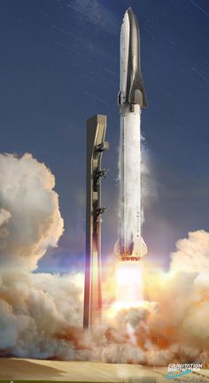 Universe Astronomy SpaceX Big Falcon Rocket (BFR) launch by Gravitation Innovation - Bunch of stunning unofficial SpaceX Big Falcon Rocket (BFR) render images created by David Romax (Gravitation Innovation). Nasa Spaceship, Spaceship Design, Spaceship Concept, Astronomy Facts, Space And Astronomy, Astronomy Science, Spacex Starship, Spacex Mars, Cosmos