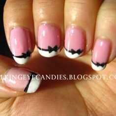 pink nail white tip black bow....I want!!!!