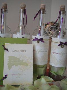 My destination wedding invitation :  wedding destination wedding diy green invitation invitations message in a bottle passport photoshop punta cana purple DSCF0257