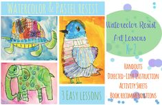 Watercolor-and-Pastel-resist-Art-lessons DO THIS FOR JUNGLE ANIMALS IN INDIA!!!