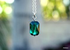 Green Crystal Necklace May Birthstone Jewelry Emerald Swarovski Sterling Silver by Keikeaux on Etsy