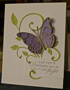 butterfly card - I like the way the flourish circles around the sentiment.