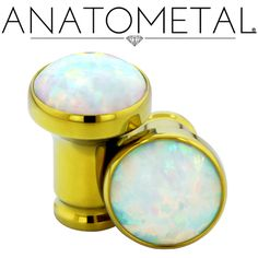 4ga Single Stone Eyelets in ASTM F-136 titanium, anodized yellow; synthetic Opal #17 gems