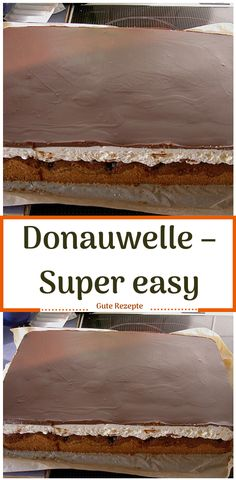 Donauwelle – super easy LECKER Ingredients for the dough: 3 egg (s) 175 g sugar 175 ml oil 175 ml milk 350 g flour 3 tsp baking powder 1 el cocoa powder 1 el milk Pudding Desserts, Super Easy, Cocoa, Food And Drink, Baking, Brownies, Muffins, Low Carb, Cakes