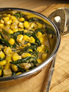 Palak Makai Malai - Curry mit Mais und Spinat (curry with corn and spinach: easily skinnified)