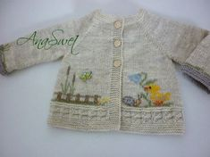 Hand knit baby cardigan Easter |