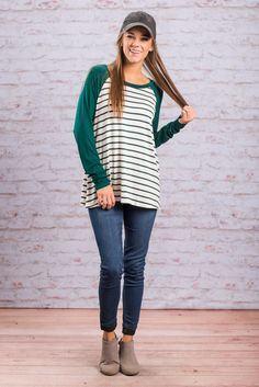 """""""Here Batter, Batter Top, Jade"""" How cute is this striped baseball tee! It's fabulously classic and wonderfully comfy! This top is perfect for fall! It's long sleeve but still not too thick. #newarrivals #shopthemint"""