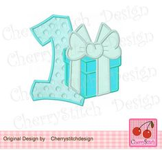 Birthday Number 1 with Tiffany BoxMy First by CherryStitchDesign