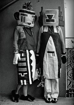 Dada Puppets: Surreal Geometries, and based on Hopi Kachina dolls.  Sophie Taeurber-Arp (wife of Jean Arp) and Erika Taeurber dressed in Kachina costumes that Sophie created, 1922.