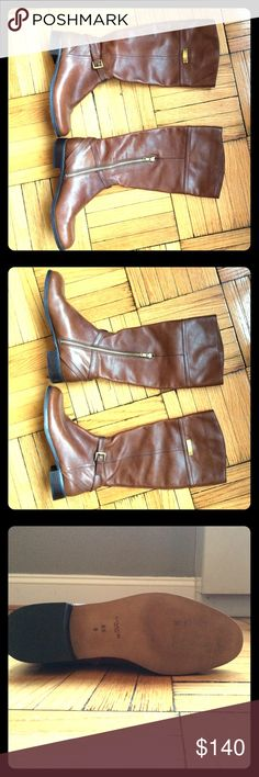 Coach Boot Chestnut Brown Micha Size 8.5 Brand new, without box. Never worn outside the store! Distinctive stitching and classic equestrian details. Mid-calf; low stacked heel. Coach Shoes