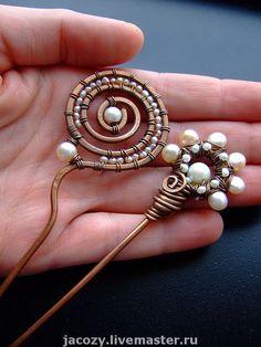 Купить Медные шпильки для волос - медь, заколка, шпилька, жемчуг, розовый, белый, подарок