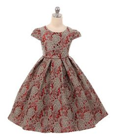 Love this Red Pattern Cap Sleeve Dress - Toddler & Girls on #zulily! #zulilyfinds
