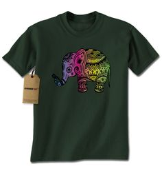 Colorful Elephant Graphic Mens T-shirt