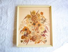 Framed Pressed Flower Art, Handmade Preserved Flower Art, Vintage Folk Art