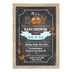 Fall Autumn Pumpkin Baby Boy Shower Invitation by PaperandPomp