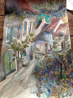 """""""Rignac"""" painting by www.jilllouisecampbell.com a fairytale village in The Lot, south west France."""