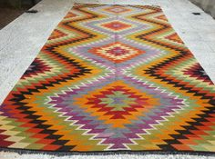 VINTAGE Handwoven Turkish Kilim Rug CarpetDaimond by pillowsstore, $616.00