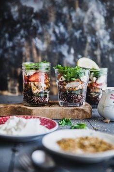Chicken And Quinoa Mason Jar Salad | Playful Cooking #quinoa #mason #jar #salad #chicken #dukkah