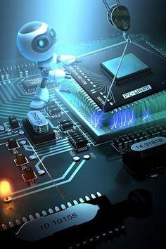 Fondo de microprocesador para iPhone 5 5S 4S ✓ Un <strong>nano-robot</strong> está instalando un <strong>microprocesador</strong> en la placa base de un ordenador. Las pequeñas pestañas de este <strong>componente informático</strong> están cargadas de electricidad, y tiene numerosas conexiones.