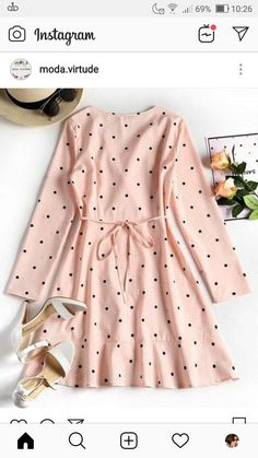 New vintage pink clothes polka dots 57 ideas Girls Fashion Clothes, Modest Fashion, Hijab Fashion, Trendy Fashion, Girl Fashion, Fashion Dresses, Pink Clothes, Fashion Today, Korean Fashion