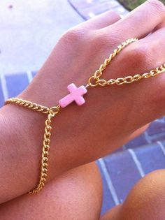 Pink Cross Gold Hand Chain Harness, BREAST CANCER AWARENESS charity