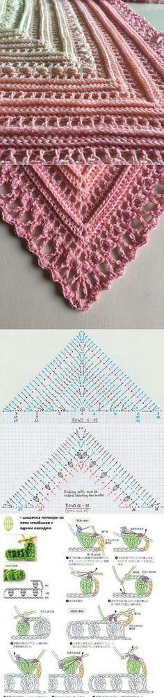 Crochet shawl pattern by Pigsfly Crochet Bolero, Gilet Crochet, Crochet Poncho Patterns, Crochet Shawls And Wraps, Crochet Diagram, Crochet Chart, Crochet Scarves, Crochet Motif, Crochet Clothes