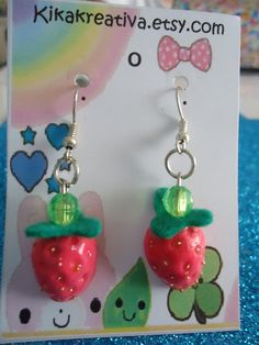 Strawberrycute and colorful polymer clay earrings by Kikakreativa, $6.50