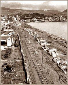 #Málaga. Playa de Huelin. 1969  Francisco Del Barrio Arenaza Malaga Spain, Granada, Valencia, Railroad Tracks, Castle, Wallpapers, Dreams, Photos, Santa Cruz