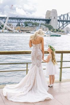 Steven Khalil Wedding Dress // Marnie and Michael Marry at Dedes on the Wharf - http://www.modernwedding.com.au/marnie-and-michael-marry-at-dedes-on-the-wharf/ #weddingdress #stevenkhalil #dress