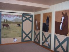 horse stable playroom, Its not decorated yet but the girls room is inspired by a home town stable and scenery. All 3 of her horses and two of her home pets are in the mural. The ceiling is faux painted 6 inch panels from which we will hang a chandelier., Girls Rooms Design